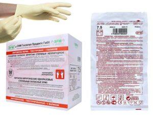 Перчатки хирургические стерильные неопудренные с валиком SFM