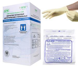 Перчатки хирургические стерильные опудренные с валиком SFM